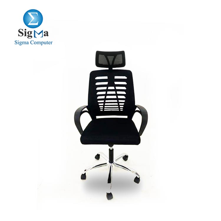Black Office Chair with headrest mesh material BackRest OC-104